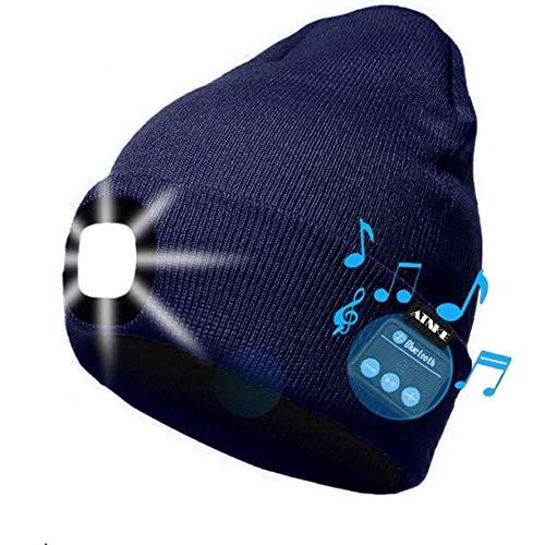 ATNKE Berretto Bluetooth con LED Illuminato, USB Ricaricabile Wireless Musicale Cappello da Corsa Ultra Bright 4 LED Impermeabile Lampada Uso per Sci Escursionismo Campeggio Ciclismo (Blu Navy)