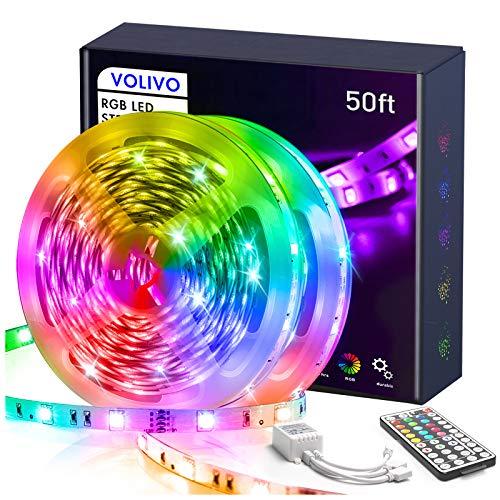 Volivo Led Strip Lights for Bedroom 50ft, Flexible RGB Led Lights for Bedroom Color Changing Led Rope Lights Strip with Remote