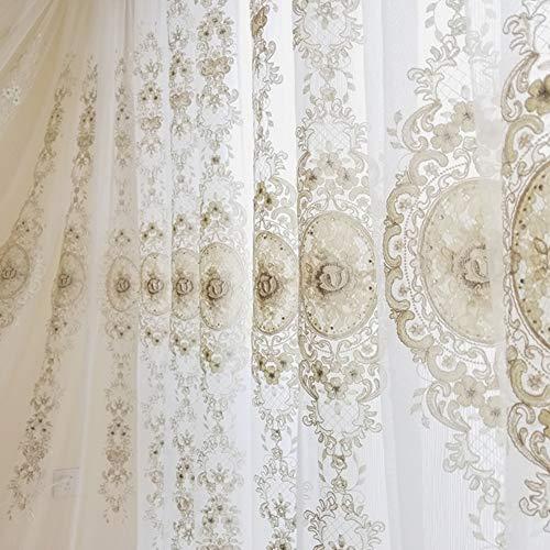 Lefran Europa Luxus Gardine,Hoch-Ende Garn Zarte Retro Bestickt Blume Vorhang Fenster-Drapes Panels Für Villa Wohnzimmer Haken Up