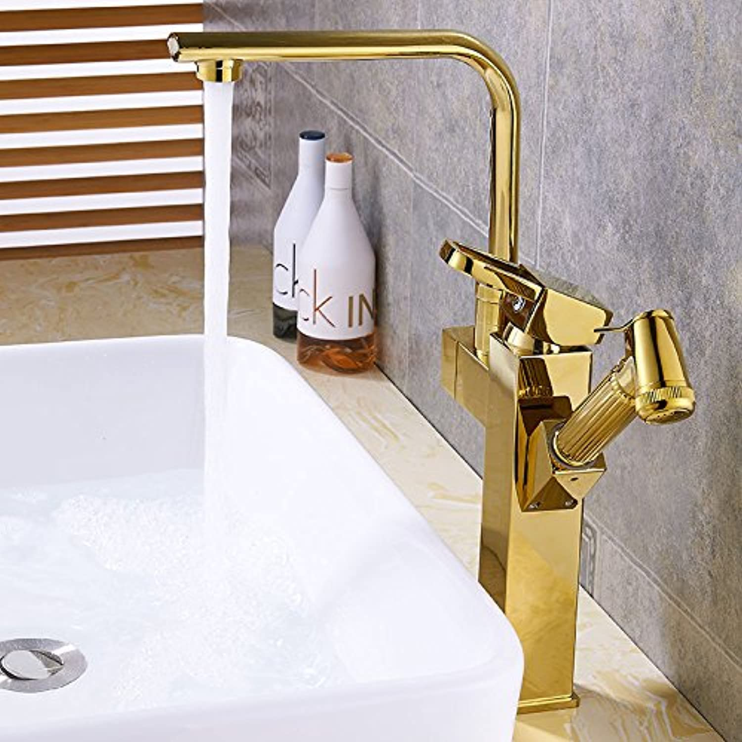 Hlluya Professional Sink Mixer Tap Kitchen Faucet The golden faucet pull hot and cold basin basin full copper pull the telescopic redating high (Table basin mixer, square seven fields, plus high