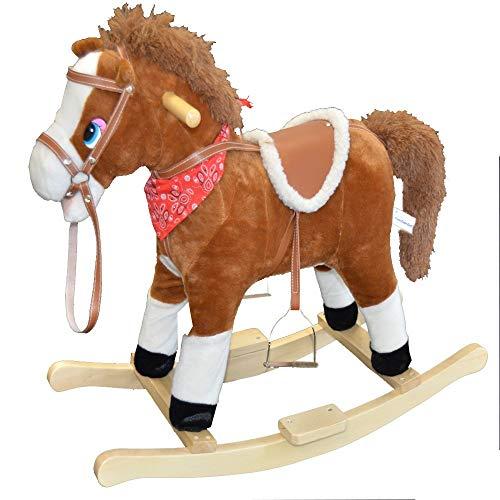 Style home Kinder Schaukelpferd Baby Tierhocker Schaukelstuhl Schaukeltier Plüschschaukel Kinderspielzeug Schaukel Massivholz (Braun Pferd)