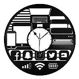 POIJK Geek Gadget - Reloj de pared de vinilo, diseño único para el hogar y la habitación de los niños, diseño vintage, oficina, bar, decoración del hogar