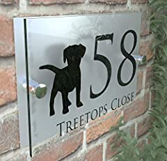 MODERN DECORATIVE DOG PUPPY HOUSE SIGN PLAQUE DOOR NUMBER STREET GLASS EFFECT ACRYLIC ALUMINIUM NAME DECA5-28B-S-C-D1 #3