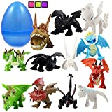 """Totem World 12 How to Train Your Dragons Figures with Jumbo Egg Storage, 1.5-2.5"""" Tall Mini Figure Toys for Kids Deluxe Cupcake Cake Toppers Party Favor Decoration"""