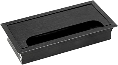 Kingsman Rectangular 6-3/16 in. x 3-3/16 in. Wire Cable Furniture Grommet with Cover (2, Matte Black Finish)