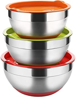 Stainless Steel Mixing Bowls with Lids (Set of 3), Non Slip Colorful Silicone Bottom Nesting Storage Bowls by Regiller, Polished Mirror Finish For Healthy Meal Mixing and Prepping 2.5-3.5-4.2QT