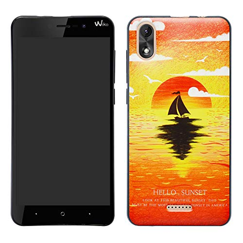 Wiko Y80 Hülle,HHDY Painted Muster Weich Superdünne TPU Silikon Handyhülle Hülle Cover für Wiko Y80,Sunset