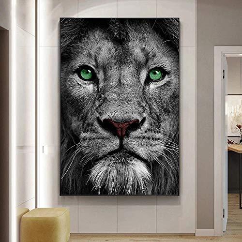 UIOLK Lienzo Africano Pintura Ojos Aguamarina Impresiones en Lienzo y Carteles Animales Salvajes en Blanco y Negro decoración del hogar