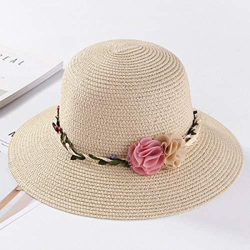 Capeline Femme Chapeau Chapeaux De Soleil D'Été pour Femmes Grand avec Rubans Bow Beach Hat Cap Ladies Sun Hat UV Protect Travel Cap Ladies Beige