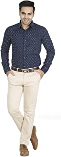 EL FIGO Men's Casual Full Sleeve Blue Cotton Printed Slim FIT Shirt