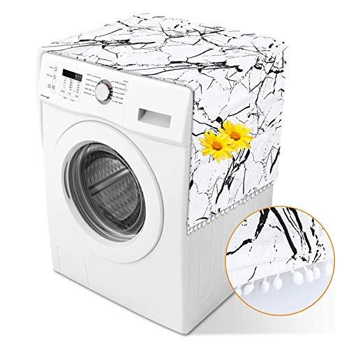 Herefun Kühlschrank Staubdichte Abdeckung, 55 * 130cm Kühlschrank Staubschutz, Waschmaschinenbezug, Waschmaschinen Schonbezug mit Multifunktionale Seitliche Aufbewahrungstasche (White Marble)