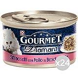 Purina Juego de 24 gourmet Diamant de 85 g, pollo delic. Sfilacep, comida para gatos