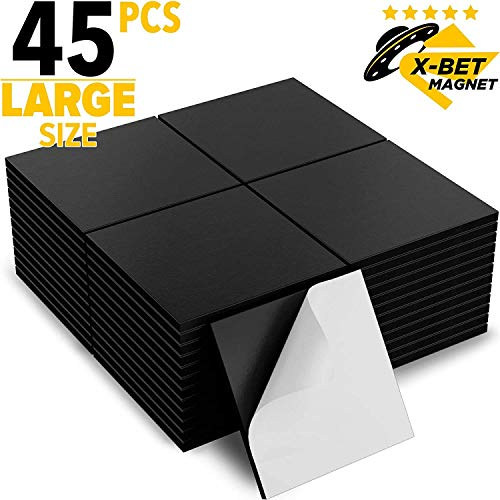 Große Magnetplättchen Selbstklebend - 3x3 cm - Magnete Selbstklebend Stark - Magnete für Magnettafel - Tafelmagnete - Kühlschrankmagnete - Klebemagnete für DIY, Fotos, Postern - 45 Stück