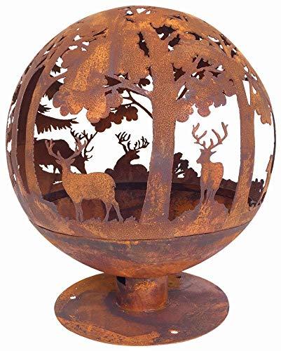 Esschert Design Elchmotiv Feuerball 58 x 58 x 66 cm, aus Metall, gelasert, in Rost-Optik, mit Standfuß - 2