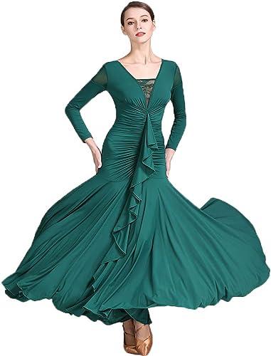 Liu Sensen 2018 Original Designs Danse Robe Poitrine Falbala Foncé Vert Latin Belly Dance Costume Manches Longues Volumineuse Jupe Grande Taille XL 2XL