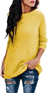 Womens Soft O Neck Fuzzy Fleece Knit Long Sleeve Pullover Sweaters