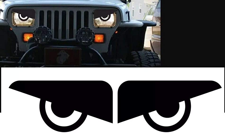 RJ product co. 1987 1988 1989 1990 1991 1992 1993 1994 1995 1996 Jeep Wrangler YJ Cherokee XJ Angry Eyes Mad Headlight Decal Sticker (1 L&R Set)