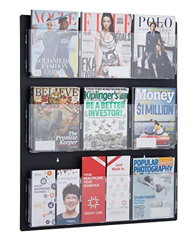 Adir Acrylic Brochure Holder Wall Mount - Adjustable Hanging Magazine Rack Literature & Brochure Holder for Home, Office, Waiting Room Display (29'' x 35'' Black)