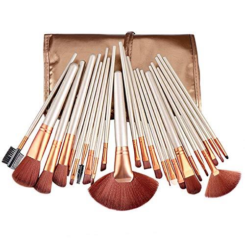 JFFFFWI Ensemble de pinceaux de Maquillage Professionnel de 24 pièces avec boîte de Rangement pour maquilleur et Novice Kabuki - Pinceau Doux pour Les lèvres des Sourcils (Couleur: Beige)