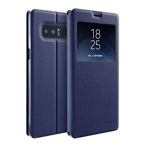 doupi Deluxe Ventana FlipCover para Samsung Galaxy Note 8, Carcasa Case magnético Funda Caso tirón Estilo Libro Protector de Cuero Artificial, Azul