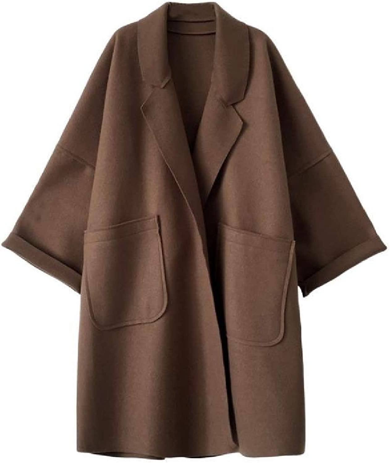 Beeatree Side Waist Pockets Turn Down Collar Thick Knee Length Cocoon Coat