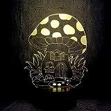 3D Ilusión LED de luz nocturna Casa de setas De Habitación De Niños Lámpara De Mesa Los Mejores Regalos De Vacaciones De Cumpleaños Para Niños Con interfaz USB, cambio de color colorido