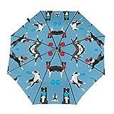 ボーダーコリーディスクドッグファブリックディスク犬、犬、犬、敏dog性犬、ボーダーコリーファブリック、黒と白のボーダーコリー犬、ヤードブルーによる犬のファブリック 折りたたみ傘 折り畳み傘 ワンタッチ 自動開閉 頑丈な8本骨 傘 耐風撥水 軽量 晴雨兼用 日傘 男女兼用