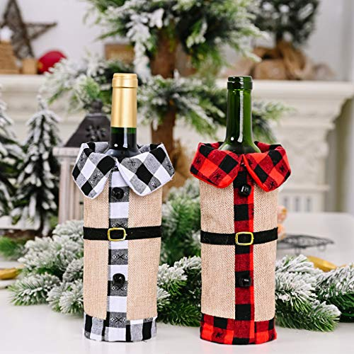 AMhomely Christmas Decorations Sale 2PC Christmas Decoration Supplies Bell Lapel Black And White Plaid Wine Set Merry Christmas Decorative Xmas Decor Ornaments Party Decor Gifts for Kids
