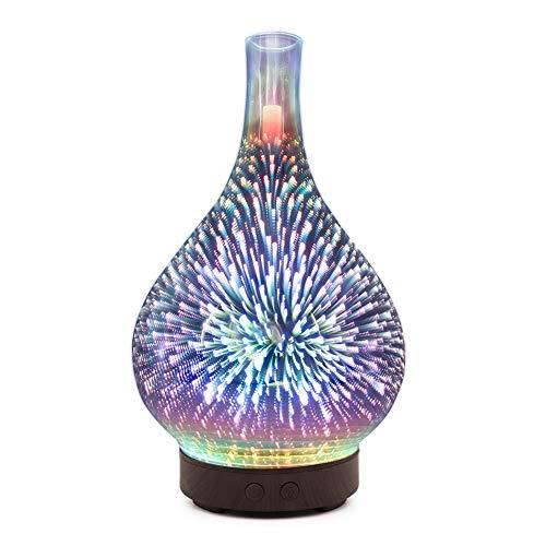 Ätherisches Öl Diffusoren 100ml Glas Luftbefeuchter mit 3D Fireworks Nachtlampe für Haus, Yoga, Büro, Schlafzimmer 24V 10W 0.3kg/0.66lbl