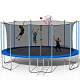 1000 LBS 16FT 𝕋ram-p01ine with Safety Enclosure Net, Fitness 𝕋ram-p01ine, Basketball Hoop, Spring Pad, Ladder, Combo Bounce Jump 𝕋ram-p01ine, Large-Scale 𝕋ramp01ine for Kids/Adluts (16 FT - Blue)