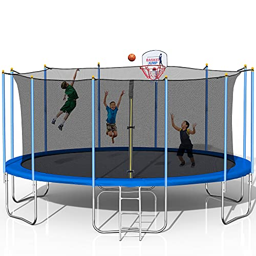 1000LBS 16FT Tranpoline with Safety Enclosure Net, Outdoor Jumping Bed for Adults Kids, with Basketball Hoop, Basketball, Heavy-Duty Fitness Jumping Bed for Backyard for 8-9 Kids (16FT-Blue)