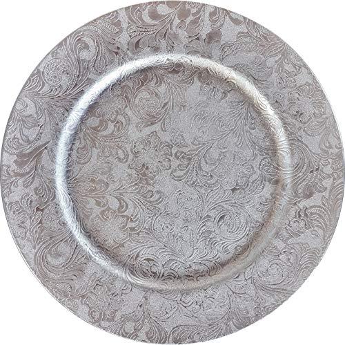 Nataluna Sottopiatto in polipropilene rotondo Ø circa 33 cm (argento)
