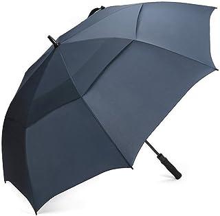 G4Free ゴルフ傘 長傘 紳士傘 直径 114cm 二重構造 ワンタッチ 自動開け 梅雨対策 台風対応 晴雨兼用 ビジネス用 メンズ 収納ポーチ付き