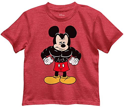 Disney Boys' Tough Mickey Mouse Graphic Tee T-Shirt (Red Heather, 5/6)