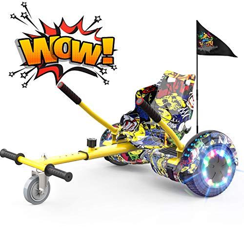 NEOMOTION Hoverboard di 6,5 Pollici Overboard e Hoverkart Hover Board con Bluetooth LED Flash Scooter Elettrico con Ruote Lampeggianti Sedile per Giocattolo Regalo per Bambini