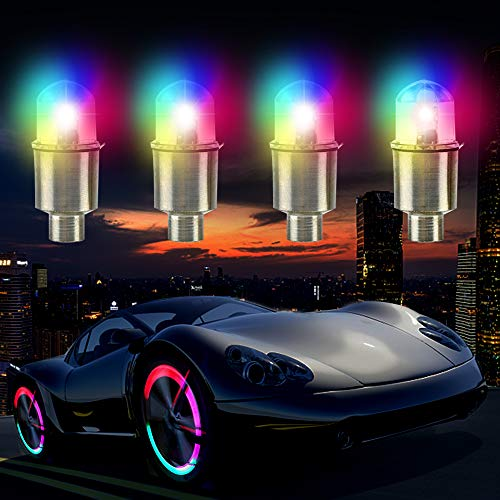 LED Wheel Lights Flashing Colorful - Led Flash Tyre Wheel Valve Cap Light Set for Car, Bike,...