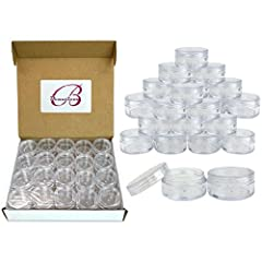 Color: Clear Quantity: 100 Pieces (Jar and Lid) Dimensions: Outer - 1.5 Inches x 0.7 Inches / Inner – h (0.58 in) w (1.17 in) High Quality Acrylic Resistant to Breaking and Warping, BPA Free Use to store a wide variety of items from food to cosmetics...