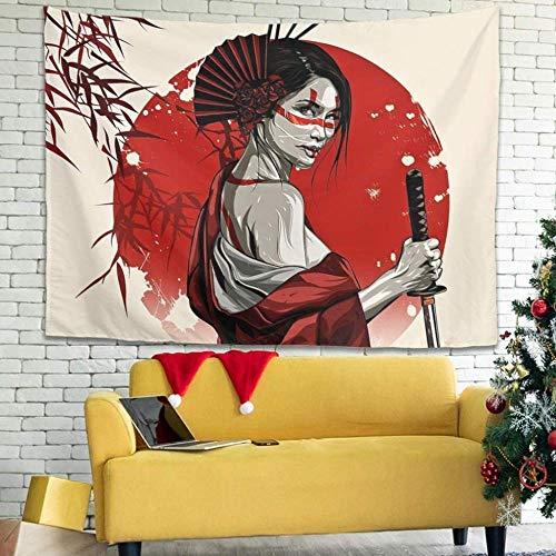 BOIPEEI Tapiz Colgante de Pared con Estampado de Sol Rojo Geisha Japonesa Vintage, Tapiz Decorativo de Tela, Cortina Abstracta Blanca 100Cmx70Cm