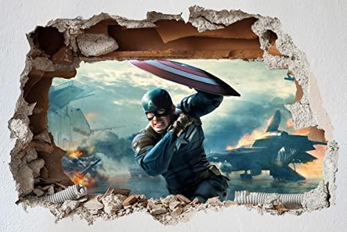 Marvel Capitán América calcomanía de pared superhéroe pegatinas de pared 3D agujero arte pegatinas dormitorio niños y niñas (grande) 82x55cm