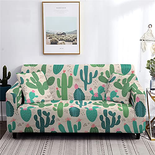 AIBABY Funda De Sofá De Impresión Digital De Cactus Minimalista Moderno con Todo Incluido Cojín De Sofá Elástico Funda De Sofá Lavable A Máquina