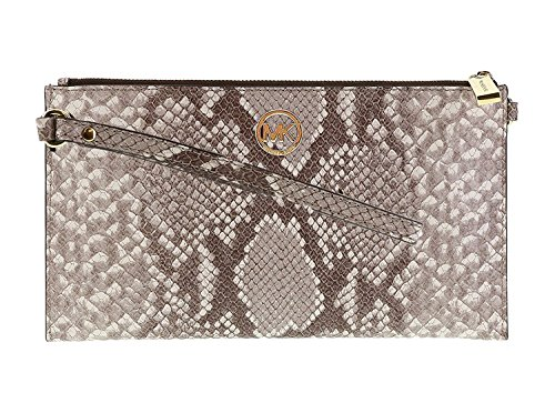 Michael Kors embossed leather clutch with gold toned hardware Top zip closure; Wristlet strap measures approx. 6.25 inches long Gold toned logo in front Interior features 1 slip pocket and 6 card slots Approx. dimensions: 9.75 in (L) x 5.5 in (H) x 0...
