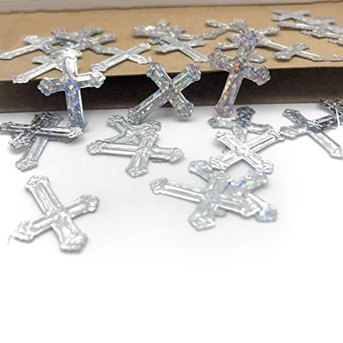 Crossed Christening Table Confetti for Religious Baptism Thanksgiving Birthday Bachelorette Wedding Engagement Bridal Shower Baby Shower Bar Mitzvah Parties Favors Iridescent Silver 1.5oz 1100pcs