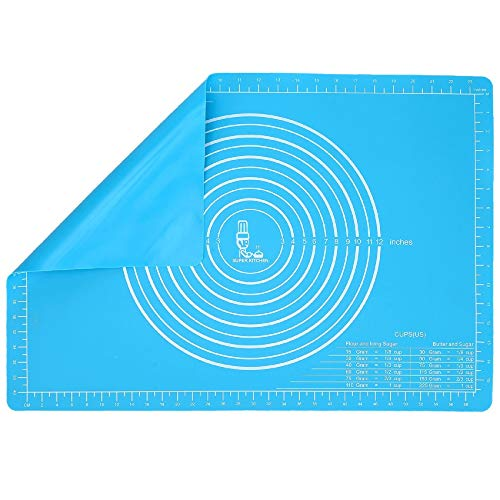 Anti-dérapants Tapis de Cuisson en Silicone, Anti-adhésif avec Mesures 65×45cm, Extra Large Tapis de Patisserie Fondant Pâte, Tapis de Four en Silicone pour Pain/ Biscuit, Set de table (Bleu)