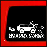 Sticker Connection | Stick Figure Sticker for Jeep Wrangler Family Nobody Cares Funny Truck White Decal Bumper Sticker