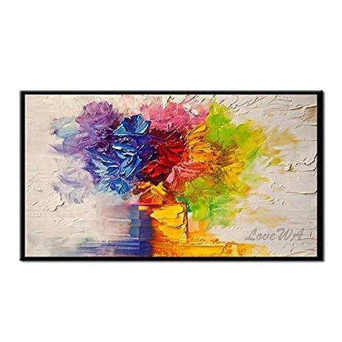 ZNYB Lienzos Pared Decorativos Flor Gruesa Pintura al óleo Pintada a Mano Flor Arte de Pared Lienzo decoración del hogar Pinturas al óleo Arte de Pared Cuadros de Flores para Sala de Estar