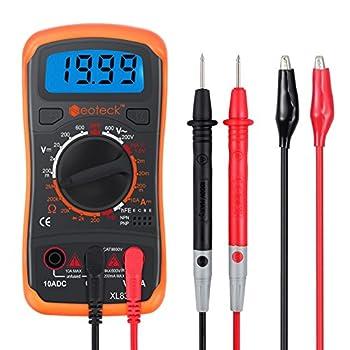 Neoteck Pocket Manual Ranging Digital Multimeter with 2 Test Leads Set Backlight LCD Volt Amp Ohm hFE  DC Amplification  Test NPN PNP Transistor Diodes Audible Continuity Tester - Orange Case