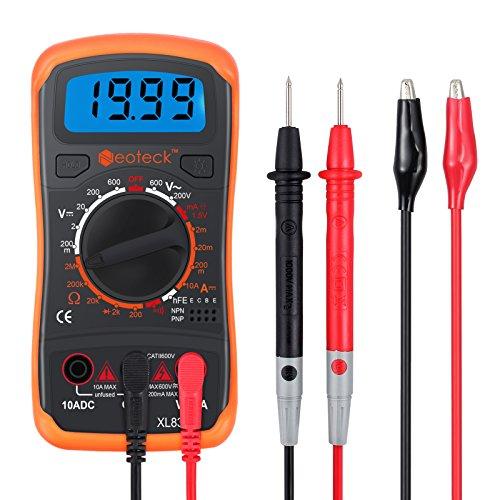 Digitaler Multimeter Mini Digital Multimeter mit Manuellem Bereich Messinstrument Voltmeter Ammeter Ohmmeter AC DC Spannung DC Strom Widerstand Transistor Buzzer mit LCD