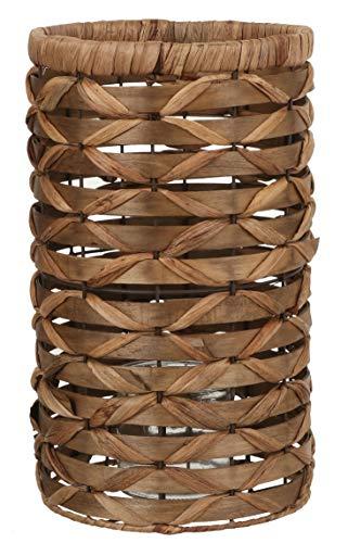 MICA Decorations Pantalla para portavelas, 38 x 22,5 cm, junco/cristal, color marrón