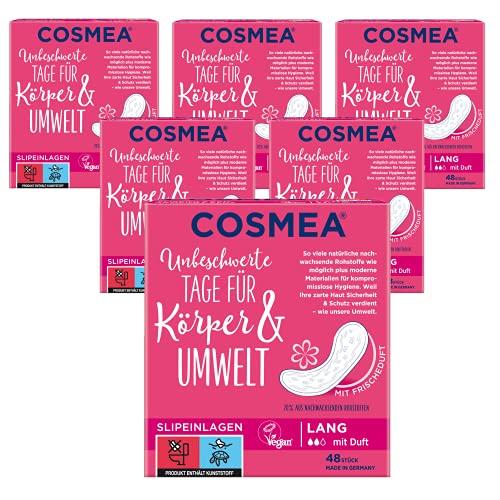Cosmea Slipeinlagen, Vorteilspack, Hygiene-Einlagen aus nachwachsenden Rohstoffen. Damen-Hygiene im Einklang mit der Natur (Lang mit Duft 5 x 48 Stück)
