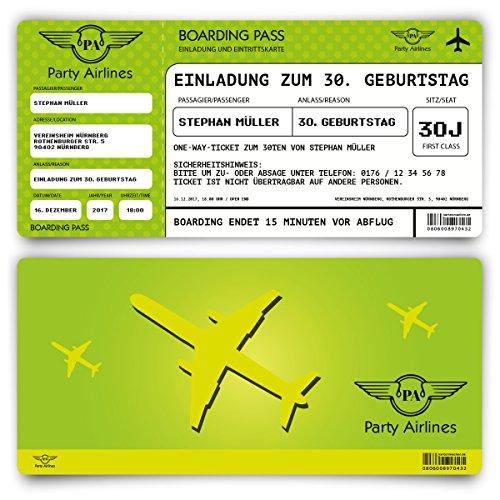 Einladungskarten zum Geburtstag (30 Stück) als Flugticket Ticket Karte Einladung in Grün